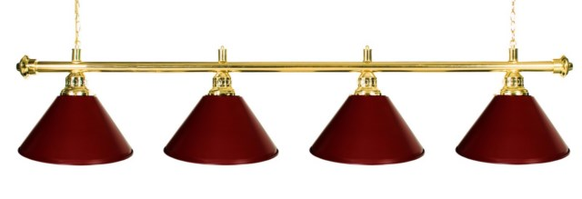 "72"" Pool Table Light - Billiard lamp With Metal Burgundy Shades for 9' Table"